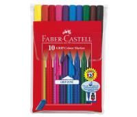 Фломастеры Faber-Castell 10 цв Grip трехганные в полиэтиленовой упаковке31 155310