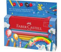 Акварельные карандаши Faber-Castell 112450 Grip 16 цв +аксессуары в металл.пенале на молнии